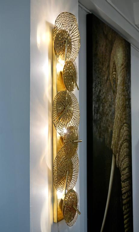 Organic Modern Contemporary Organic Italian Design Pair of Perforated Brass Leaf Sconces For Sale