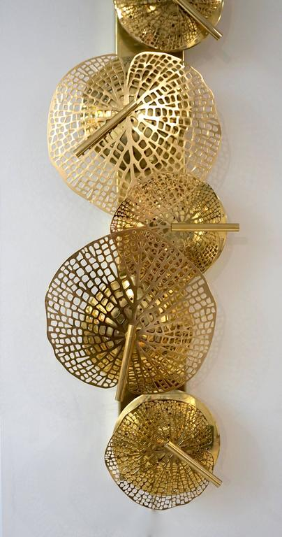 Contemporary Organic Italian Design Pair of Perforated Brass Leaf Sconces For Sale 2