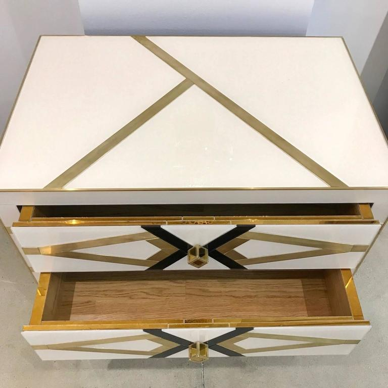 Contemporary Pair of Italian Gold Brass Black and White Side Tables/Nightstands For Sale 1