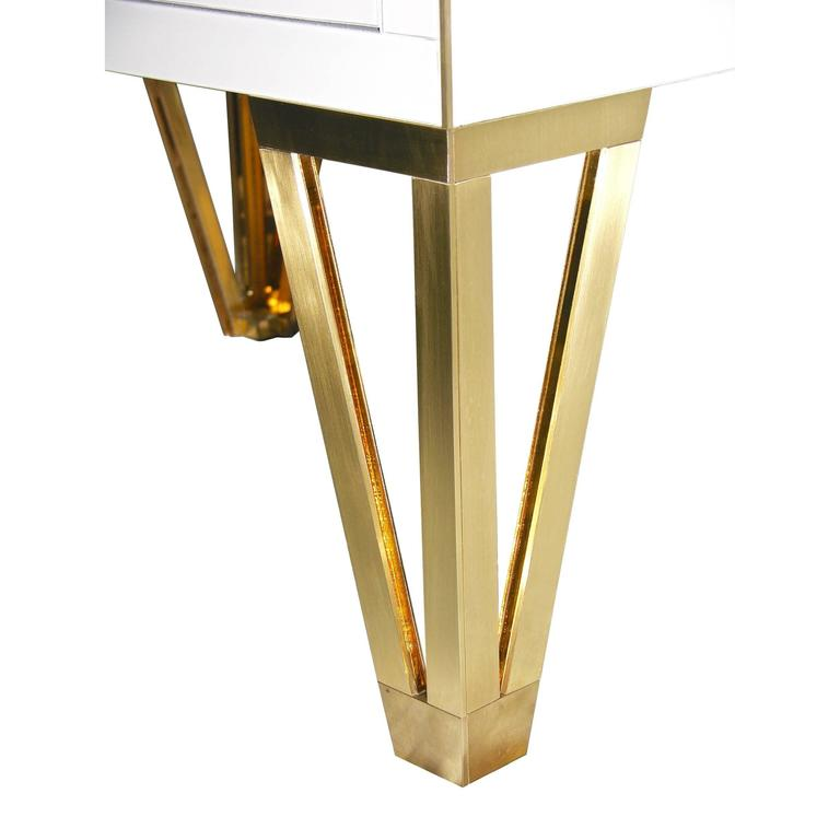 Contemporary Pair of Italian Gold Brass Black and White Side Tables/Nightstands For Sale 4