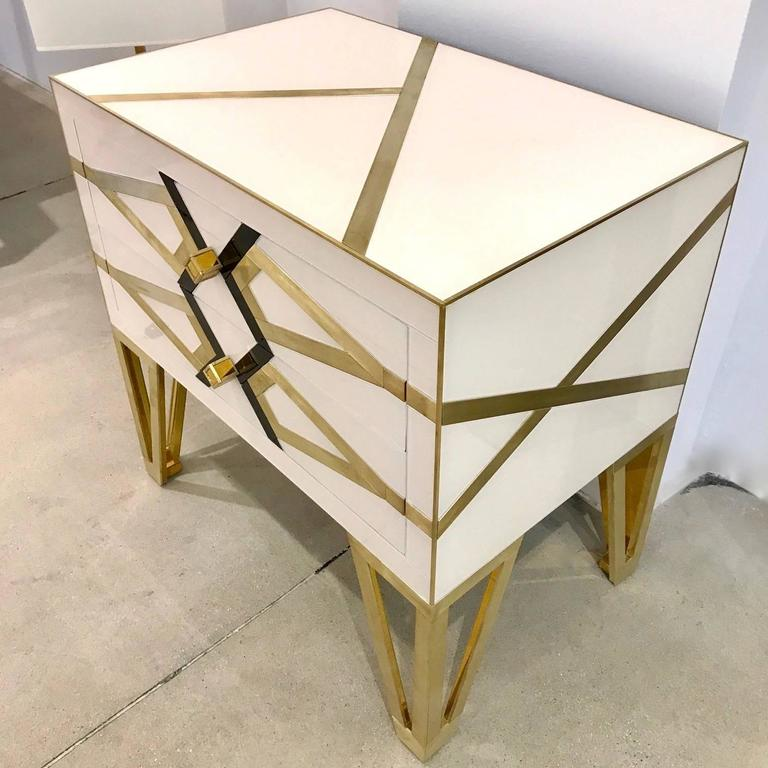 Modern Contemporary Pair of Italian Gold Brass Black and White Side Tables/Nightstands For Sale