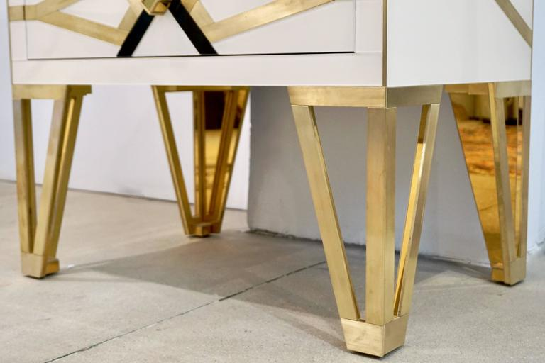 Contemporary Pair of Italian Gold Brass Black and White Side Tables/Nightstands For Sale 6