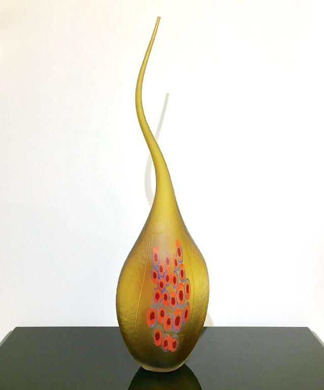Dona Modern Art Glass Yellow Amber Sculpture Vase with Red and Blue Murrine 7
