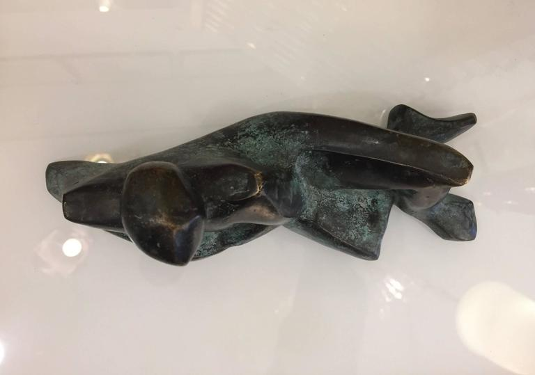 Minimalist Italian Man Bronze Sculpture Limited Edition by Giovanni Ginestroni For Sale 1