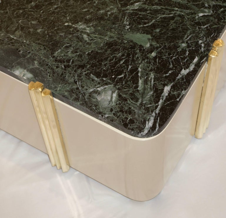 Brass 1970s Art Deco Green Marble and Cream White Lacquered Coffee Table or Bench For Sale