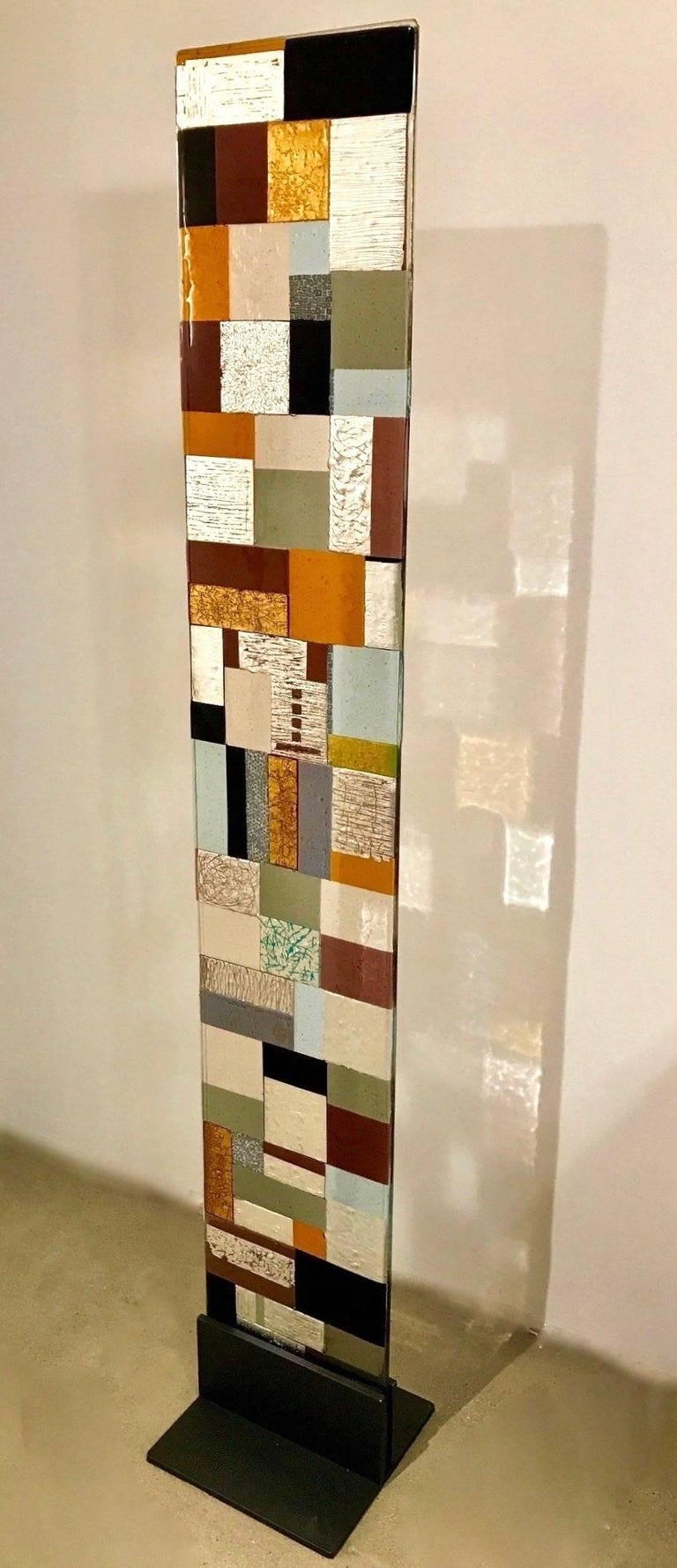 Vienna Secession Contemporary Italian Murano Glass Silver Gold Colorful Mosaic Panel Sculpture For Sale
