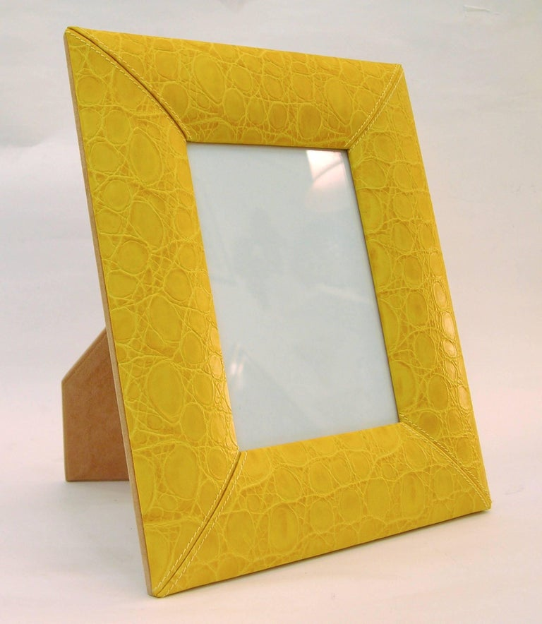 Modern 1990s Paciotti Italian Couture Yellow Embossed Leather Fashion Photo Frame For Sale