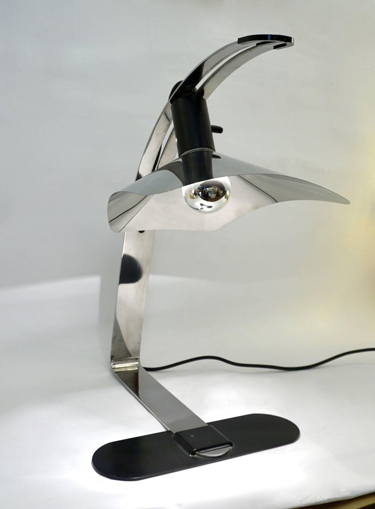 Grignani for Luci, 1970s, Italian Vintage Adjustable Black and Nickel Desk Lamp For Sale 1