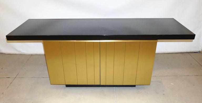 1970s Frigerio Vintage Italian Black & Brass Freestanding Sideboard/Console For Sale 3