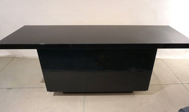 1970s Frigerio Vintage Italian Black & Brass Freestanding Sideboard/Console For Sale 1