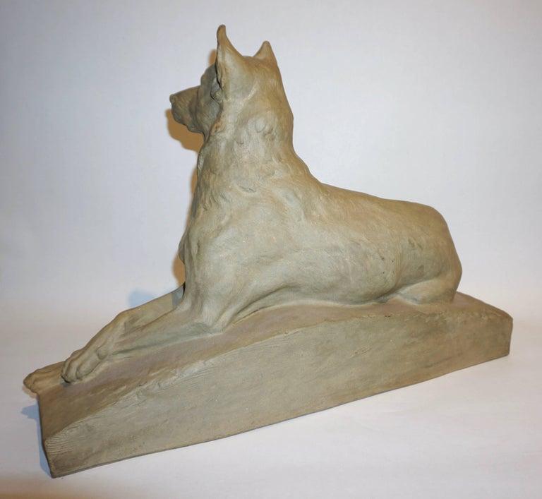 Art Deco Charles Virion 1920 Antique Gray Terracotta Sculpture of a German Shepherd Dog For Sale