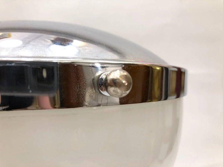 Glass Valenti & Co 1960s Vintage Minimalist Italian Design Nickel and White Desk Lamp For Sale