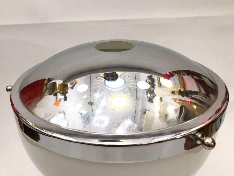 Valenti & Co 1960s Vintage Minimalist Italian Design Nickel and White Desk Lamp For Sale 1