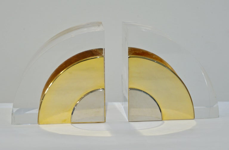 1970 Italian Pair of Brass Nickel Lucite Bookends Attributed to Gabriella Crespi For Sale 2
