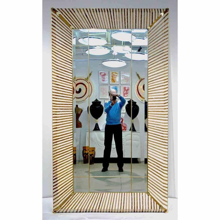 Organic Modern 1990 Italian Geometric White & Brown Bamboo Wood Floor Mirror with Brass Accents For Sale