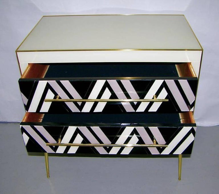 Late 20th Century 1990 Italian Graphic Pair of Geometric Black White Rose Gray Chests/ Side Tables For Sale