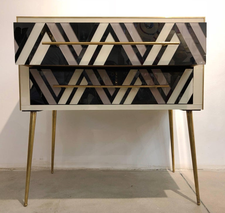 Metal 1990 Italian Graphic Pair of Geometric Black White Rose Gray Chests/ Side Tables For Sale