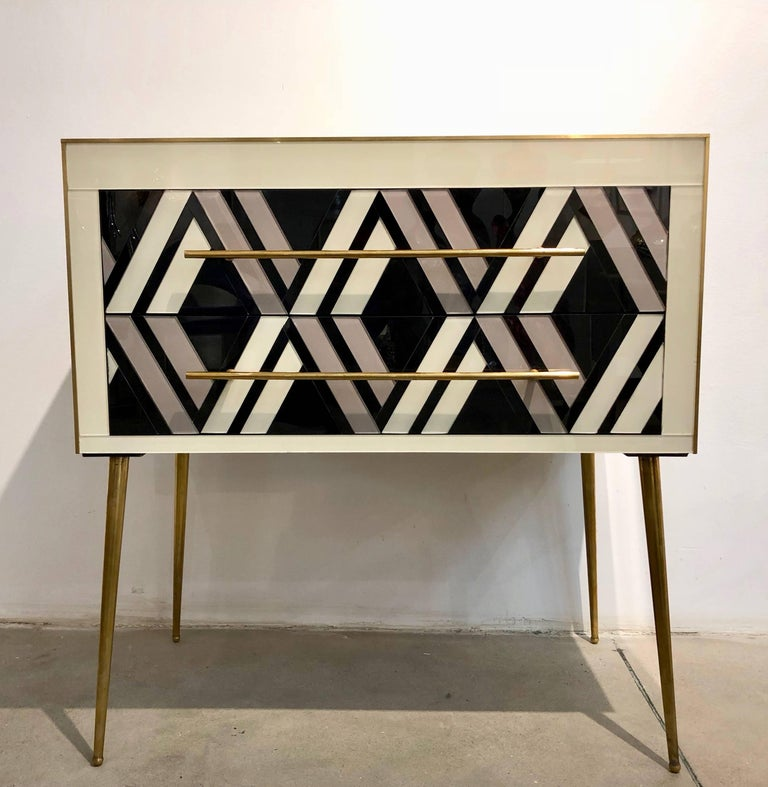Modern 1990 Italian Graphic Pair of Geometric Black White Rose Gray Chests/ Side Tables For Sale