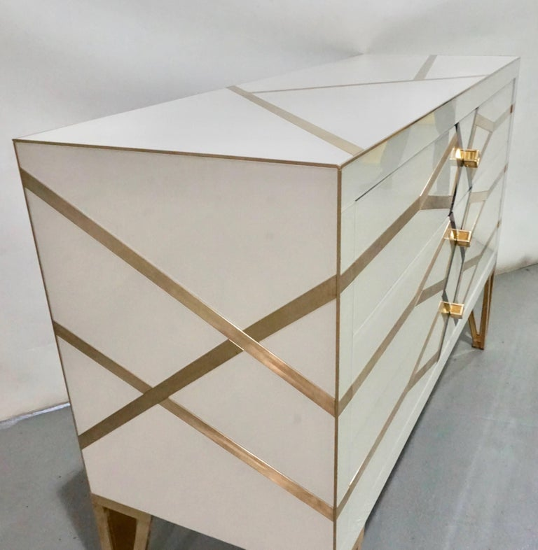 Contemporary Italian Design Gold Brass, Black and Cream White Three-Drawer Chest In Excellent Condition For Sale In New York, NY