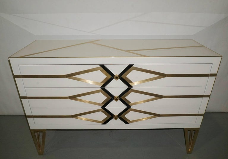 Contemporary Italian Design Gold Brass, Black and Cream White Three-Drawer Chest For Sale 6
