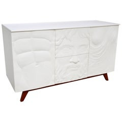 Contemporary Italian Design White Sideboard or Cabinet with Burgundy Wood Legs