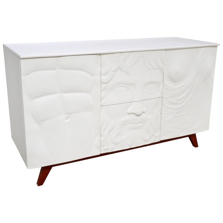 Contemporary Italian Design White Sideboard or Cabinet with Burgundy Wood Legs For Sale