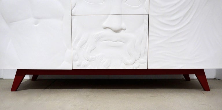 Contemporary Italian Design White Sideboard or Cabinet with Burgundy Wood Legs In Excellent Condition For Sale In New York, NY