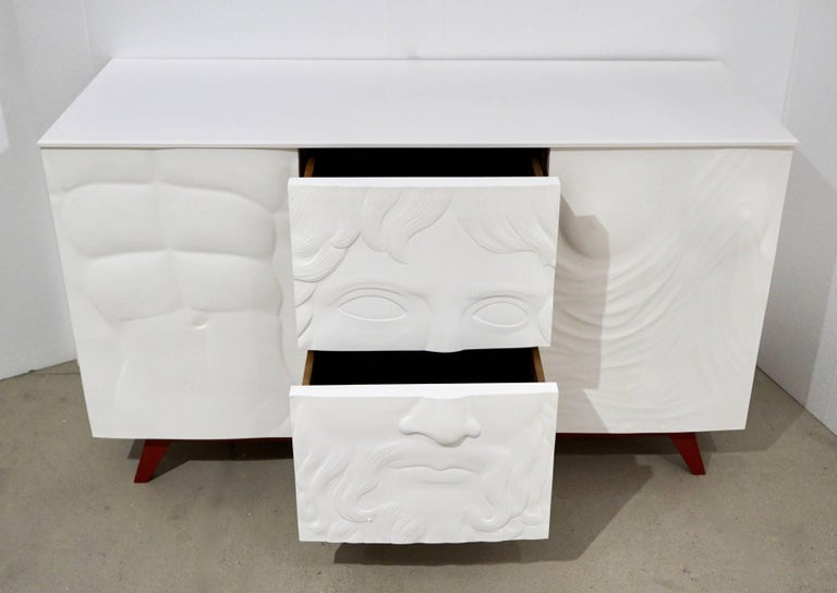 Contemporary Italian Design White Sideboard or Cabinet with Burgundy Wood Legs For Sale 1
