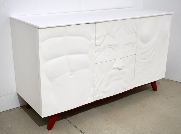 Contemporary Italian Design White Sideboard or Cabinet with Burgundy Wood Legs For Sale 3