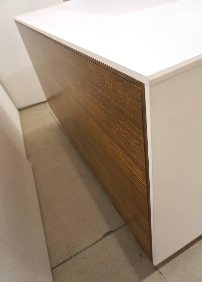 Contemporary Italian Design White Sideboard or Cabinet with Burgundy Wood Legs For Sale 4