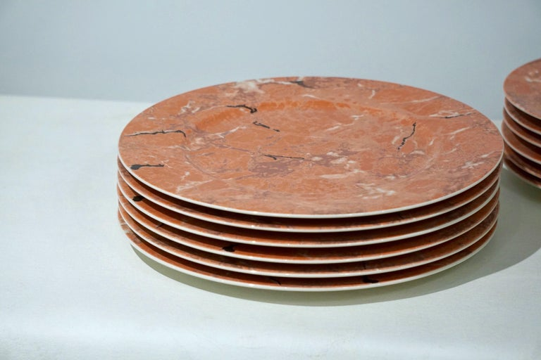 Late 20th Century Villeroy & Boch Set for 12 Orange Pink Platters and Dessert Plates For Sale