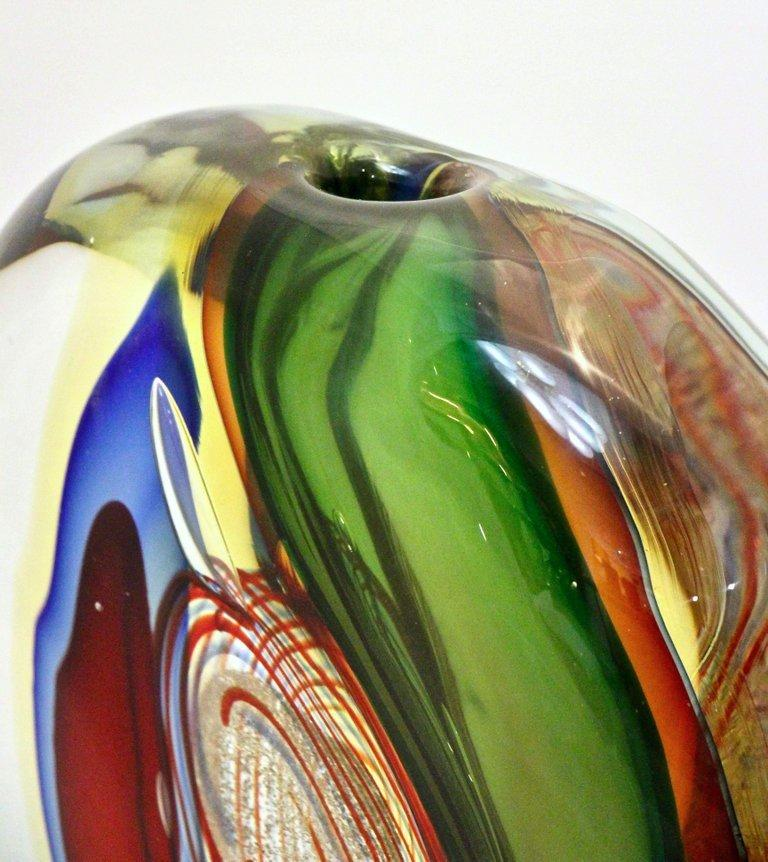 Late 20th Century Barbini 1970s Modern Red Green Blue Gold Crystal Murano Art Glass Sculpture Vase For Sale