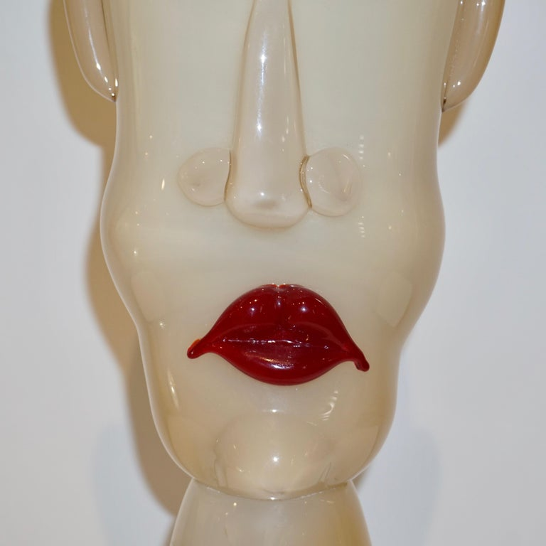 Late 20th Century Formia 1980s Modern Italian Comic Ivory Glass Head Sculpture For Sale