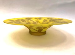 1970 Austrian Vintage Art Nouveau Style Yellow Glass Bowl with Brown Rose Leaves