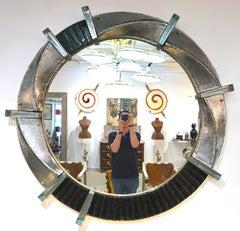 Contemporary Italian Modern Black Silver & Aqua Murano Glass Brass Round Mirror