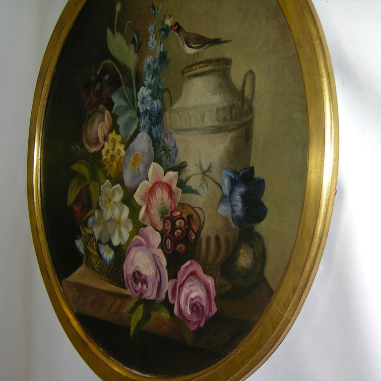 1880 French Provincial Pair of Round Still Life Oil Paintings in Gilt Frames For Sale 5
