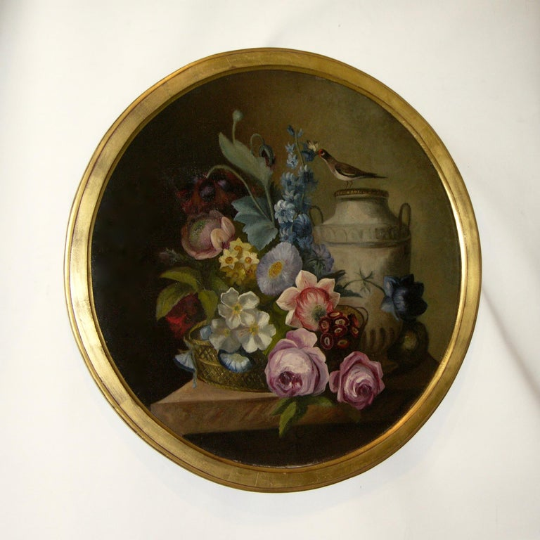 1880 French Provincial Pair of Round Still Life Oil Paintings in Gilt Frames For Sale 9