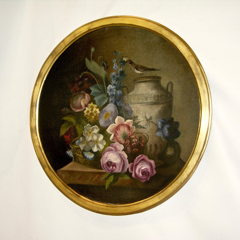 1880 French Provincial Pair of Round Still Life Oil Paintings in Gilt Frames For Sale 4