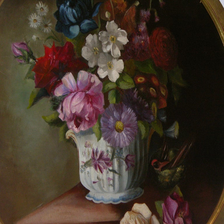 19th Century 1880 French Provincial Pair of Round Still Life Oil Paintings in Gilt Frames For Sale