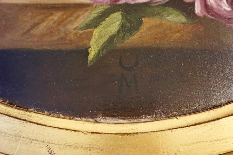 1880 French Provincial Pair of Round Still Life Oil Paintings in Gilt Frames For Sale 1