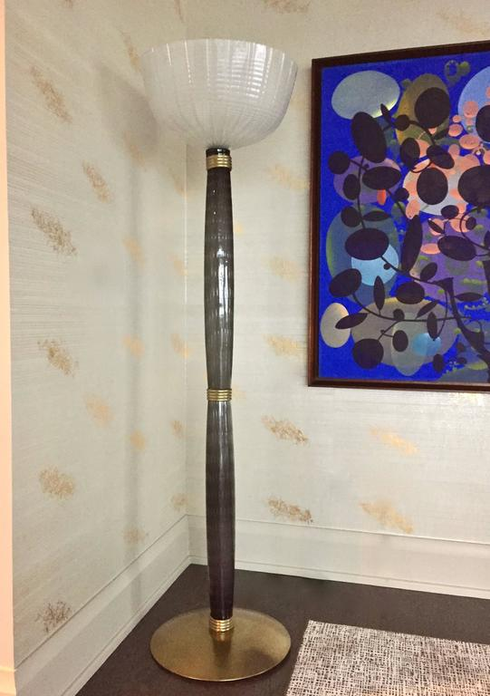 Extremely Rare Pair of Barovier e Toso Olive Grey Murano Glass Floor Lamps 2