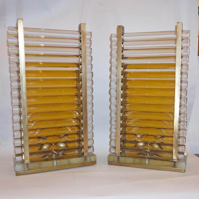 Frosted 1970s Gabriella Crespi Style Pair of Italian Brass & Crystal Urban Design Lamps For Sale