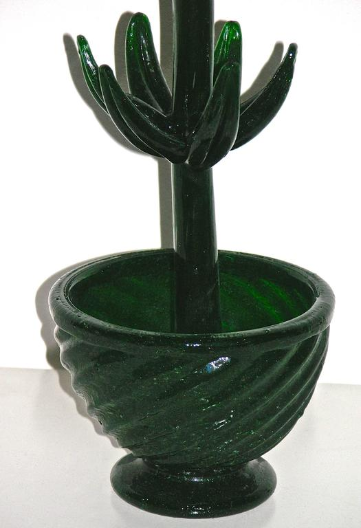 Organic Modern 1980s Italian Pair of Organic Green Murano Glass Potted Plants with Red Flower For Sale
