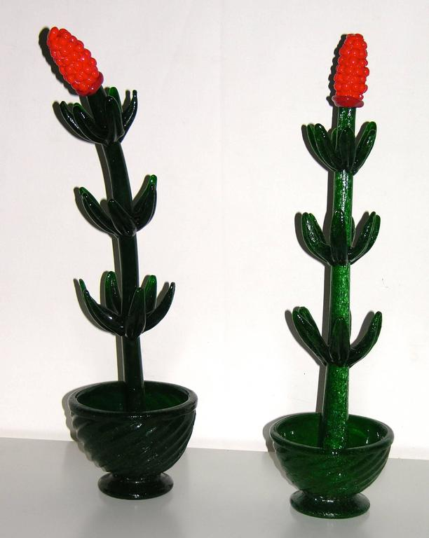 Hand-Crafted 1980s Italian Pair of Organic Green Murano Glass Potted Plants with Red Flower For Sale