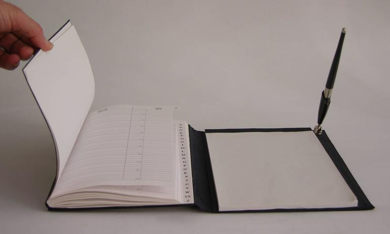Hand-Crafted Pierre Cardin Vintage Address and Notebook Desk Set with Sterling Silver Cover For Sale