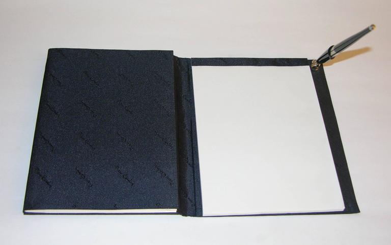 Pierre Cardin Vintage Address and Notebook Desk Set with Sterling Silver Cover In Good Condition For Sale In New York, NY