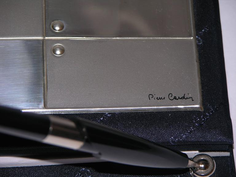 Late 20th Century Pierre Cardin Vintage Address and Notebook Desk Set with Sterling Silver Cover For Sale