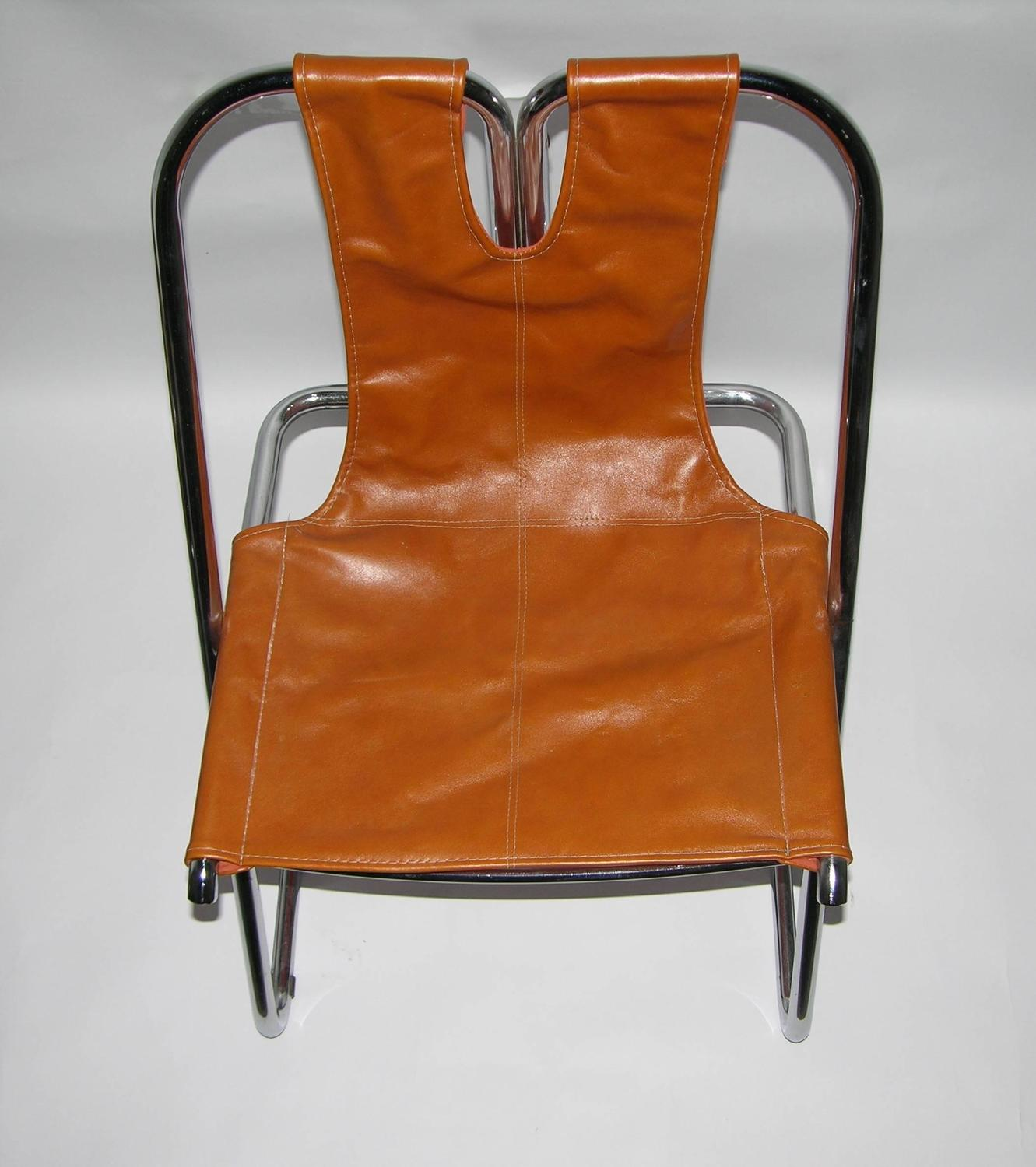 1960s Italian Set Of Four Hand Stitched Leather And Chrome