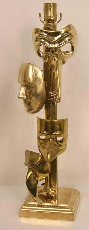 One-of-a-Kind Italian Pair of Carnival Lamps Decorated with Cast Bronze Masks For Sale 6