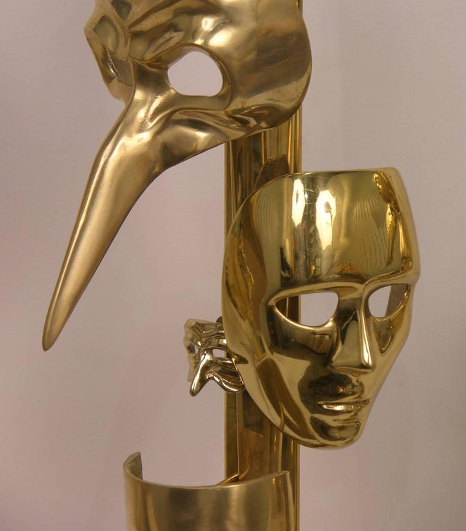 One-of-a-Kind Italian Pair of Carnival Lamps Decorated with Cast Bronze Masks For Sale 4